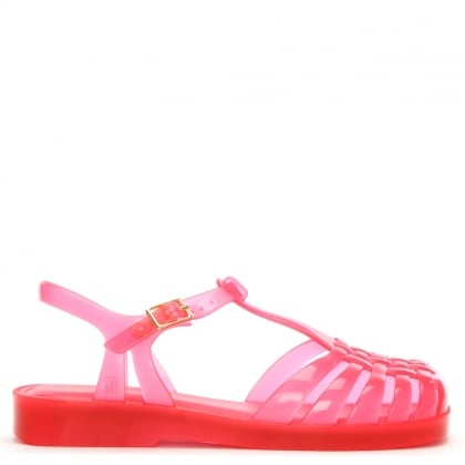 Kids Pink Aranha Quadrada Jelly Shoes