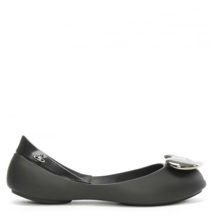 Kid's Queen Heart Black Ballerina Flat