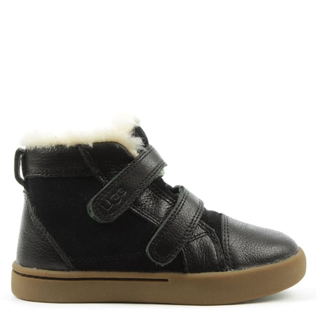 Kids Rennon Black Suede & Leather High Top Boot
