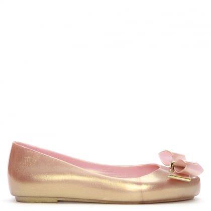 Kid's Space Love Gold Glitter Ballerina Flats