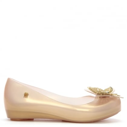 Kid's Ultragirl Butterfly Soft Gold Ballerina Flats