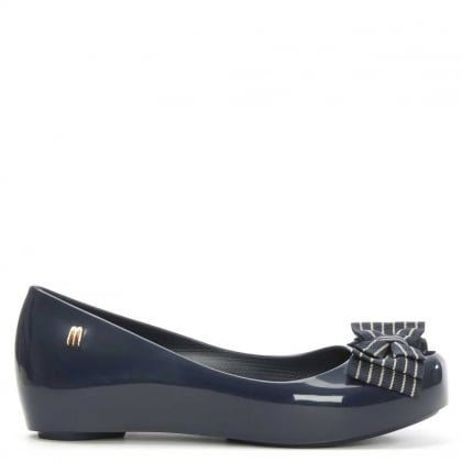 Kid's Ultragirl Navy Ribbon Striped Bow Ballerina Flat