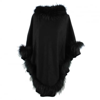 Kim Black Fur Trim Poncho