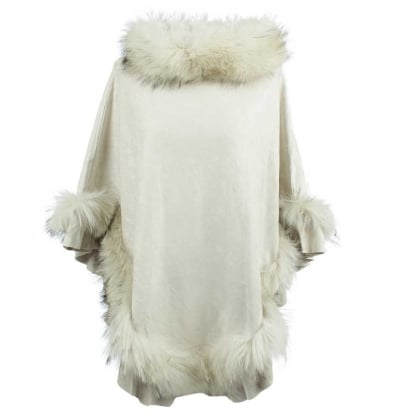 Kim Cream Fur Trim Poncho