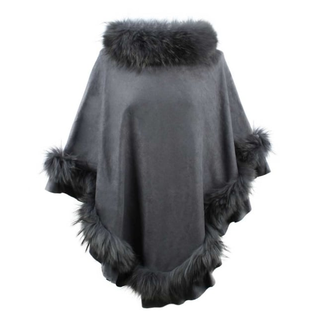 Kim Dark Grey Fur Trim Poncho