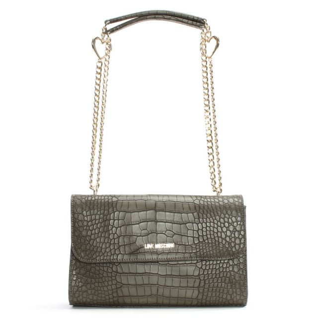 Kim Grey Reptile Chain Handle Shoulder Bag