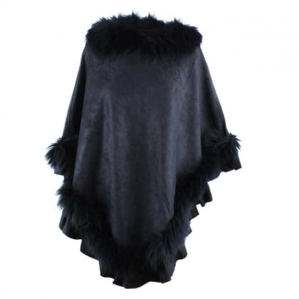 Kim Navy Fur Trim Poncho
