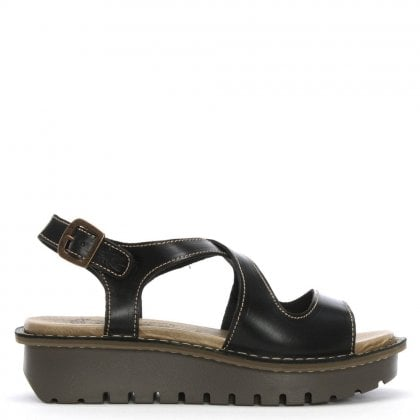 fef6ab841ae Kimb Black Leather Cut Away Chunky Sandals. Sale. Fly London ...