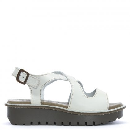 Kimb White Leather Cut Away Chunky Sandals