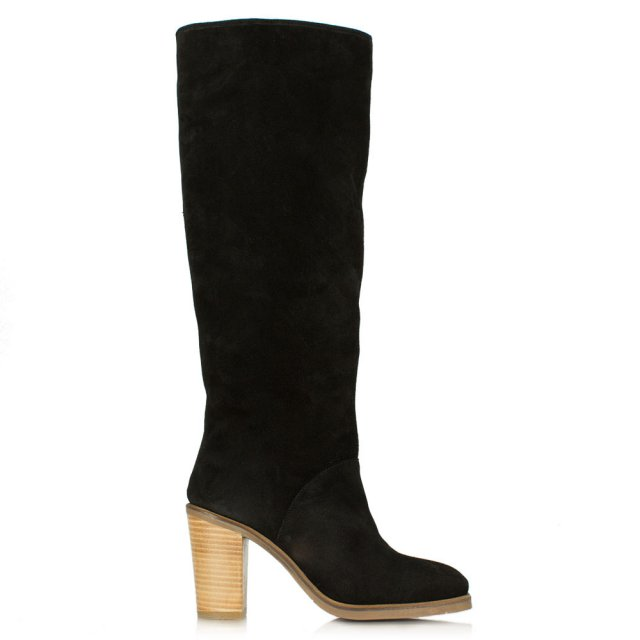 Kingsbridge Black Suede Stacked Heel Knee High Boot