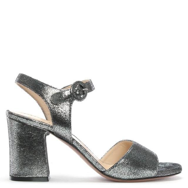 4c4a6f397a0e Evaluna Kini Pewter Metallic Block Heel Sandals