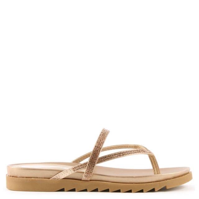 Kintyre Gold Diamante Toe Post Sandal