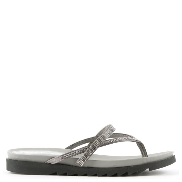 Kintyre Silver Diamante Toe Post Sandal