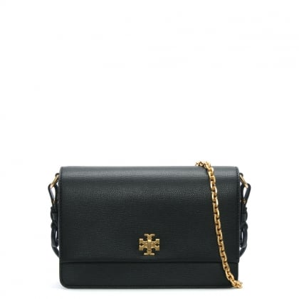 Kira Black Leather Double Shoulder Strap Bag