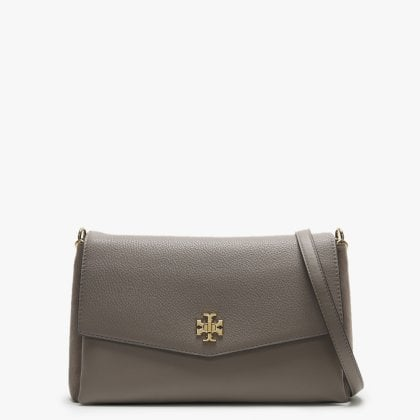 0f7fc9cded Tory Burch Kira Grey Heron Leather   Suede Shoulder Bag