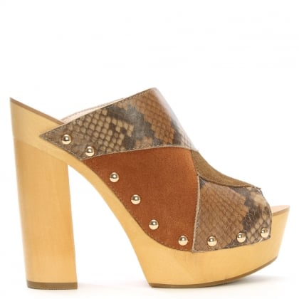 Kitty Tan Patchwork Platform Peep Toe Mules