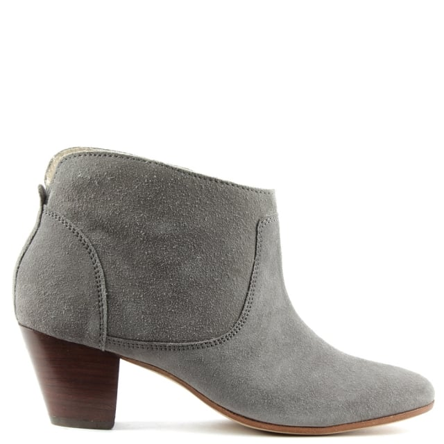 Kiver Grey Suede Stacked Heel Ankle Boot
