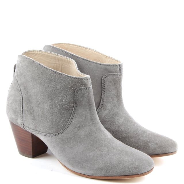 51eb6758a Hudson Kiver Grey Suede Stacked Heel Ankle Boot