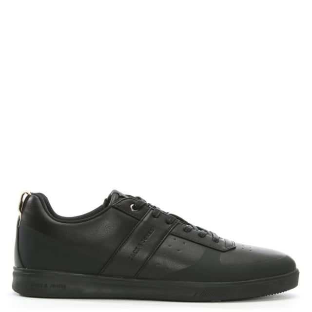 Jack & Jones Kleen Black Leather Lace Up Trainers
