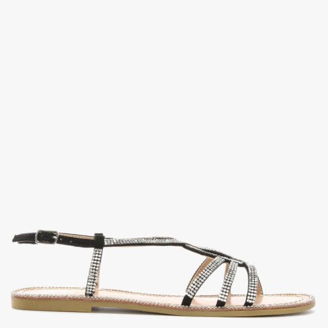 029a2cf4a DF By Daniel Kloss Black Twist Strap Diamante Sandals