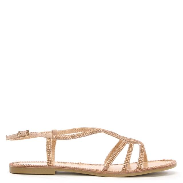 Kloss Gold Twist Strap Diamante Sandal