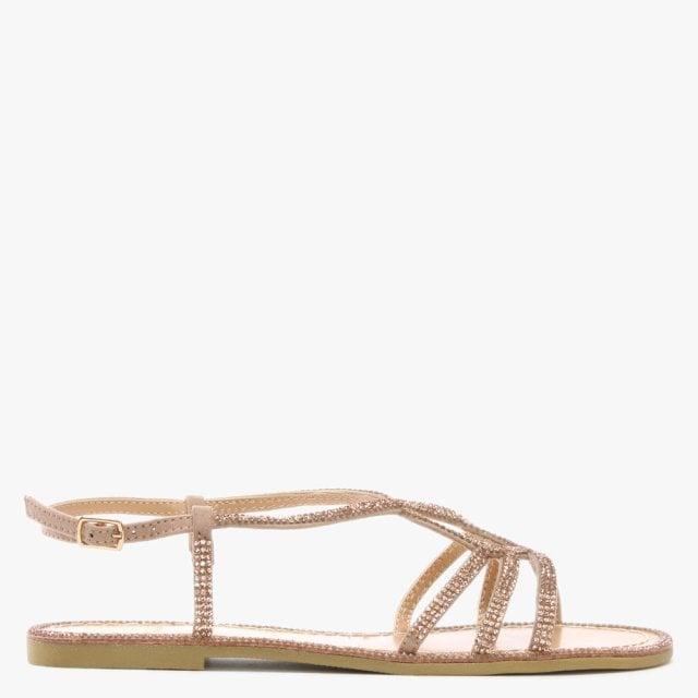 603902658 DF By Daniel Kloss Pink Twist Strap Diamante Sandal