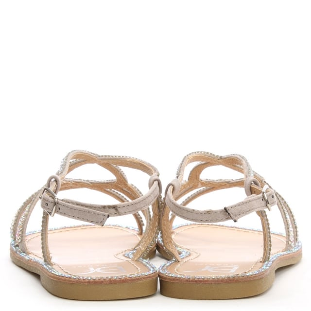 70f501fdf DF By Daniel Kloss Silver Twist Strap Diamante Sandal