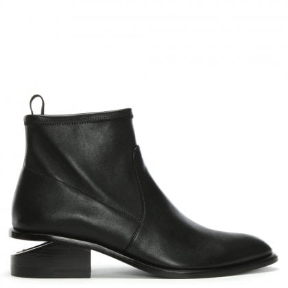 Kori Black Leather Oxford Heel Stretch Ankle Boots