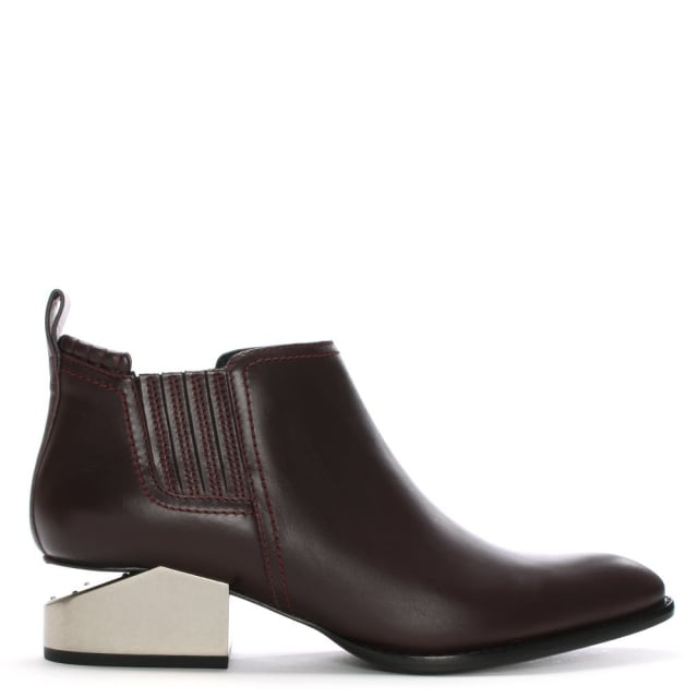 Alexander Wang Kori Burgundy Leather Oxford Heel Ankle Boots