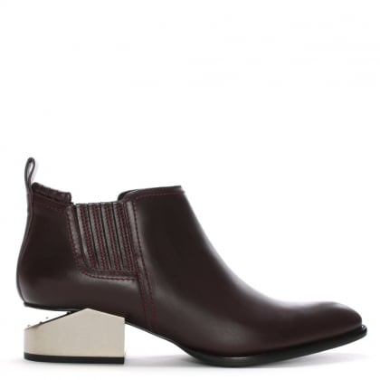 Kori Burgundy Leather Oxford Heel Ankle Boots