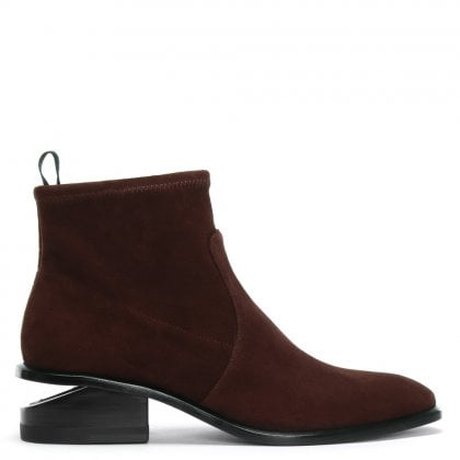 Kori Cranberry Suede Oxford Heel Stretch Ankle Boots