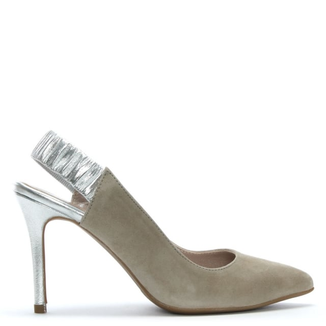 Kotiro Taupe Suede Sling Back Court Shoes