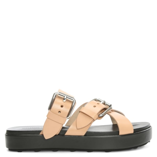 Kriss Beige Leather Chunky Cross Strap Flat Sandal
