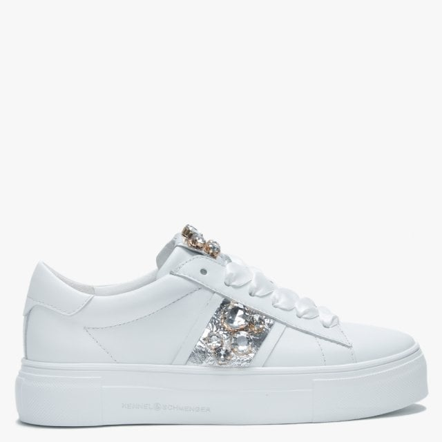 White Leather Embellished Trainers