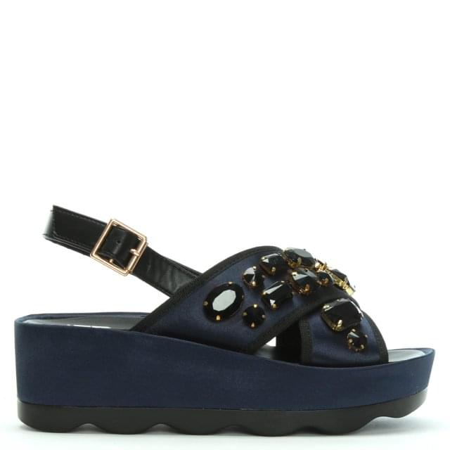 Kush Navy Satin Cross Strap Jewelled Flatform Sandals