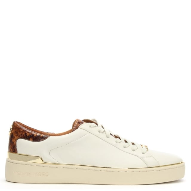Kyle Cream Leather Reptile Trim Sneakers