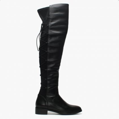 bf01ba2a621f Laci Black Leather Lace Back Over The Knee Boots. Sale. Moda In Pelle ...