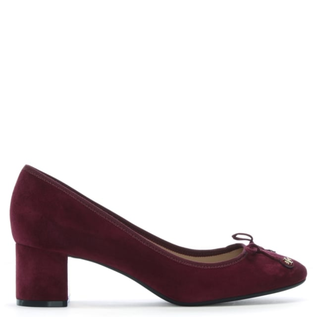 235c1183fcb Tory Burch Laila 50 Burgundy Block Heel Pumps