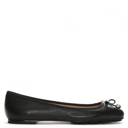 Laila Black Leather Square Toe Driving Ballet Flats