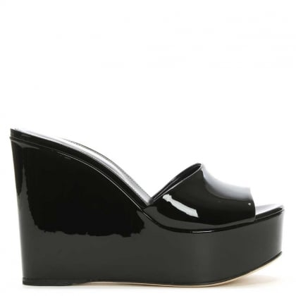 Lakeesha Black Patent Leather Wedge Mule