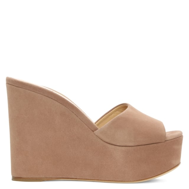 Lakeesha Nude Suede Wedge Mule