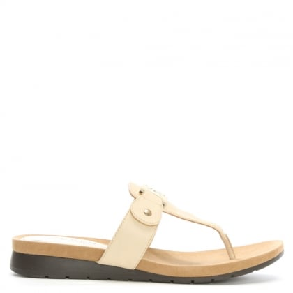 Lakin Beige Leather Toe Post Low Wedge Sandals