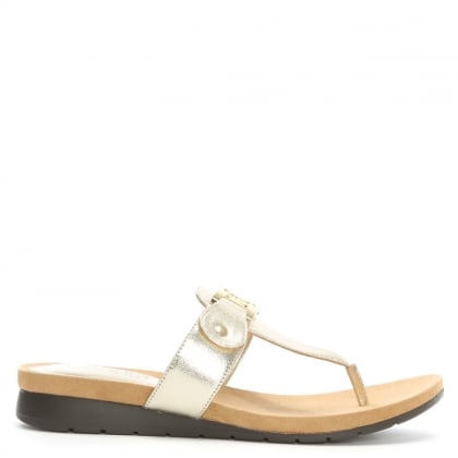 Lakin Gold Leather Toe Post Low Wedge Sandals