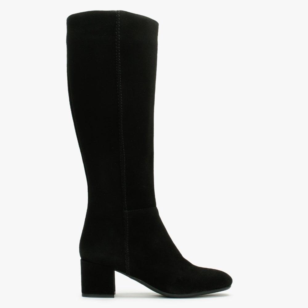 Lamica Black Suede Low Block Heel Knee
