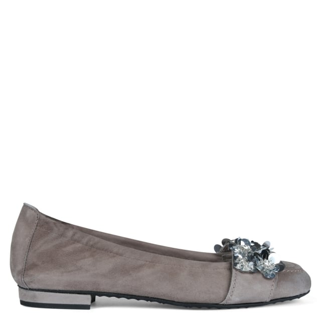 Kennel & Schmenger Lamine Grey Suede Floral Embellished Pumps