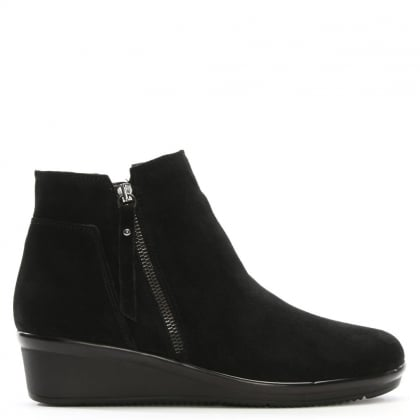 Lamone Black Suede Low Wedge Ankle Boots