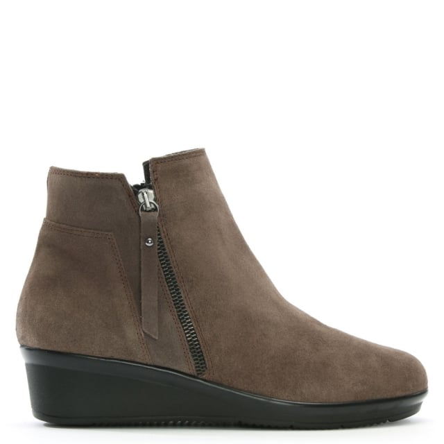 Lamone Taupe Suede Low Wedge Ankle Boots