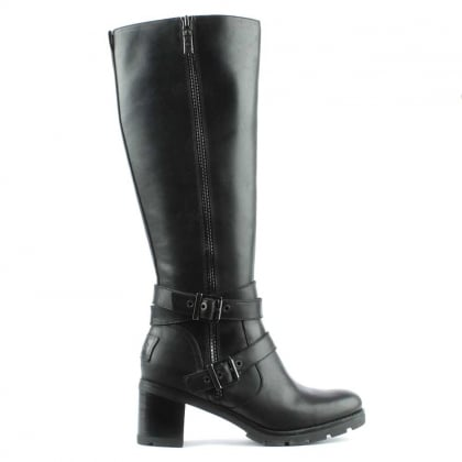 Lana Black Leather Zip & Strap Knee Boot