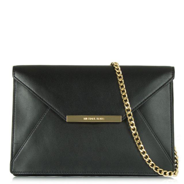 Michael Kors Black Leather Envelope Clutch 1d2bd8bb3