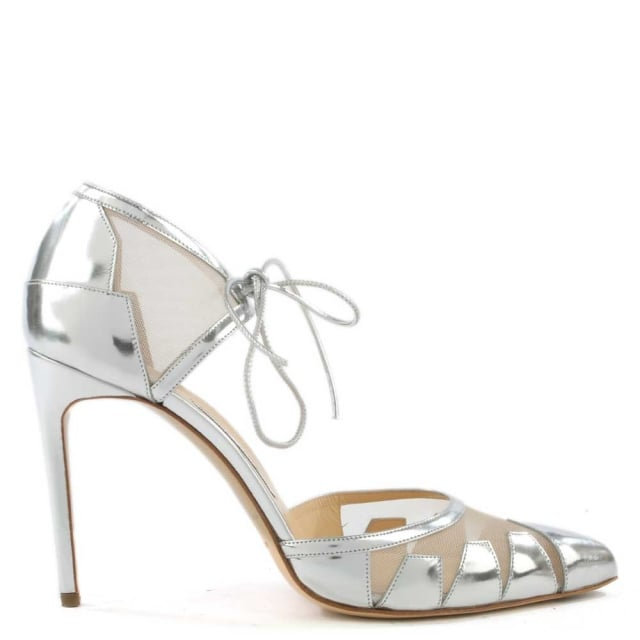 Lana Silver Leather Mesh Insert Ankle Tie High Heel Pump